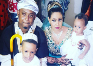 Mr. Blue, wife Waheeda and children pose for a family picture during their wedding. PHOTO: Bongo 5