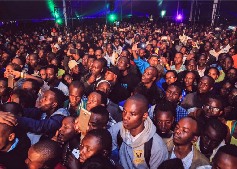 Phones out everyone. Let us capture the moment! Fans at Sauti Sol'sEldoret concert. PHOTO/FACEBOOK