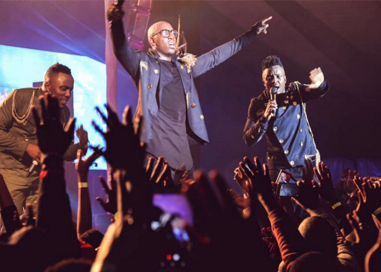 Sauti Sol doing what they do best during the Eldoret concert. PHOTO/FACEBOOK