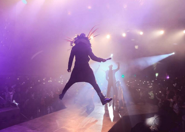 Sauti Sol giving it their all during the concert. PHOTO/FACEBOOK