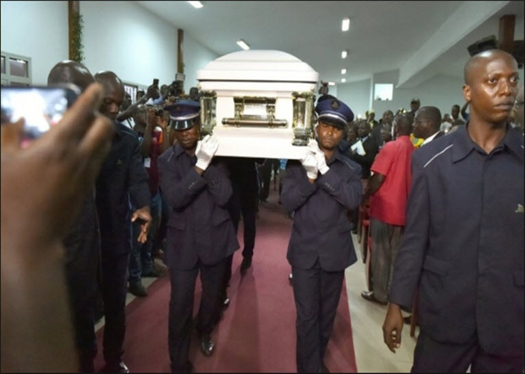 Papa Wemba's body being carried.PHOTO/COURTESY