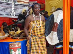 Catherine Karea Ikua displays cultural items of the Tharaka community PHOTO/BRIAN OKOTH