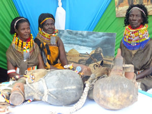 Turkana County members (Elizabeth Yeshwa in the centre) showcase their cultural artifacts at Vihiga Municipal Grounds PHOTO/BRIAN OKOTH