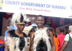 George Muruku (L) and Lucas Karuga (R) from Kiambu County showcase their culture at Vihiga Municipal Grounds PHOTO/BRIAN OKOTH