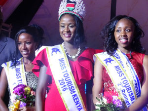 First runner-up; Miss Tourism Uasin Gishu County (Left) Miss Tourism Kenya 2016 Rabella Omollo (Centre) and Second runner-up; Miss Tourism Bomet County PHOTO/BRIAN OKOTH