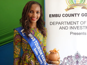 Miss Tourism Embu County Susan Wangui pose for a photo at Vihiga Municipal Grounds PHOTO/BRIAN OKOTH