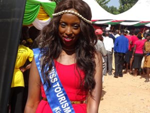 Miss Tourism Kisii County Archina pose for a photo at Vihiga Municipal Grounds PHOTO/BRIAN OKOTH
