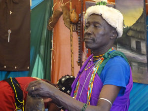 Member of the Nandi community showcases cultural items at Miss Tourism cultural expo in Vihiga PHOTO/BRIAN OKOTH