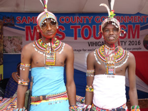 Samburu warriors in their traditional attire pose for a photo at the Vihiga Municipal Grounds PHOTO/BRIAN OKOTH