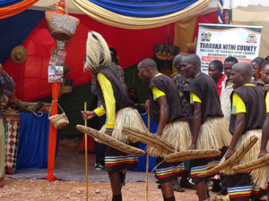 Dancers from Tharaka Nithi County entertain at Vihiga Municipal Grounds PHOTO/COURTESY