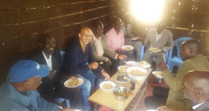 Sophia Wanuna's boyfriend Sasha Mutai takes lunch with 'wazee' in Kaptumo, Nandi County PHOTO/COURTESY