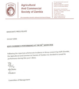 Official letter from the Agricultural and Commercial Society of Zambia communicating cancellation of Koffi Olomide's concert in the 2016 Show PHOTO/COURTESY