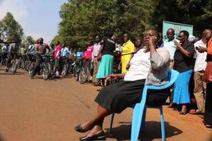 Ruth Odinga took the challenge in front of amused boda-boda bike riders on Wednesday, July 13 PHOTO/COURTESY