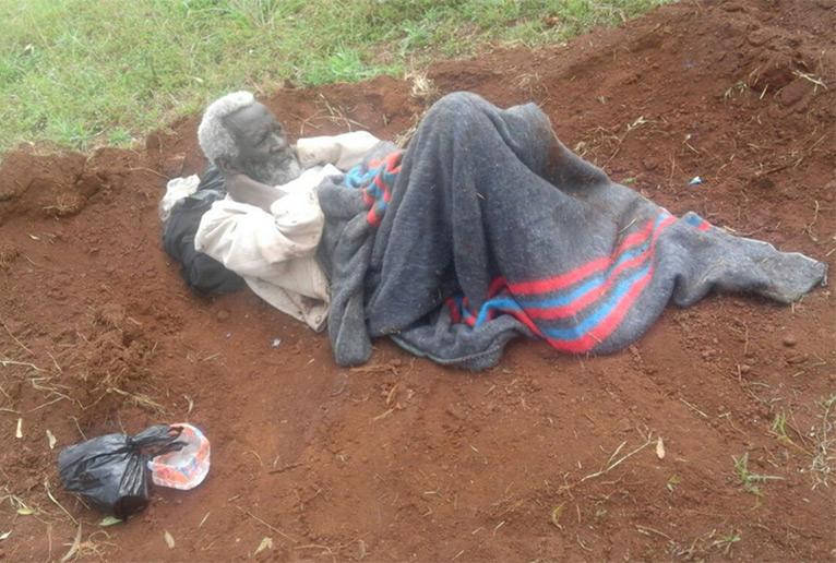 Samuel Kibure was dumped alive near Mutomo Graveyard along Gatundu-Mutomo Kenyatta Road Tuesday PHOTO/ROSE WANJA