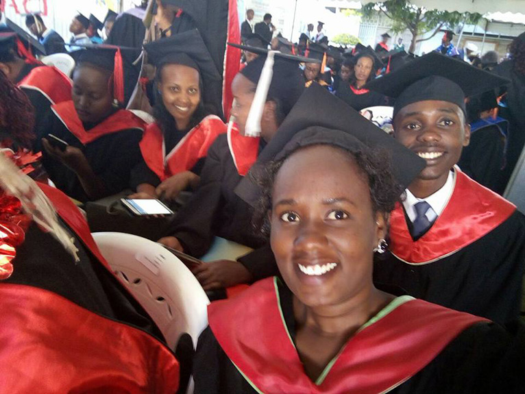 Carolyne Munene Wanjiru could not hide her excitement on her graduation day [PHOTO/FACEBOOK]