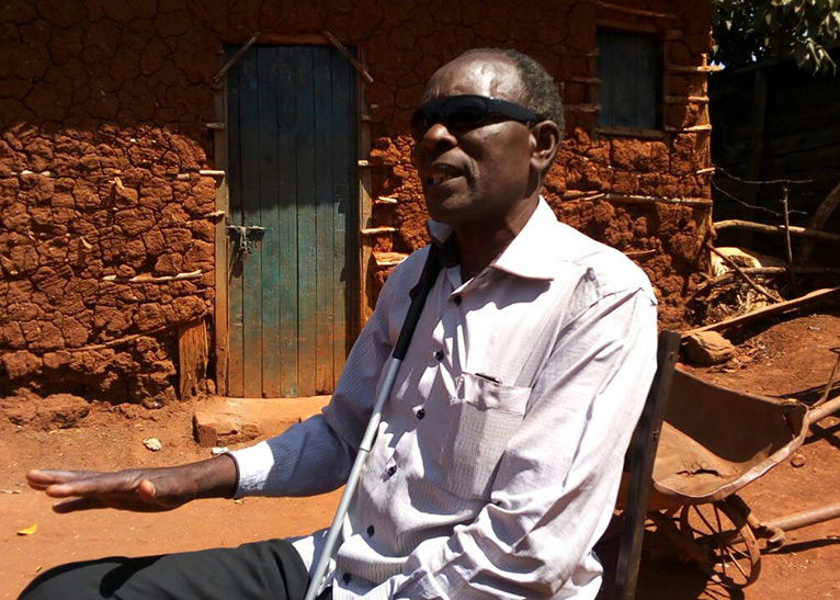 Nicholas Lusweti says his life changed completely after he became blind, rendering him unable to fend for his family [PHOTO/EDAILY]