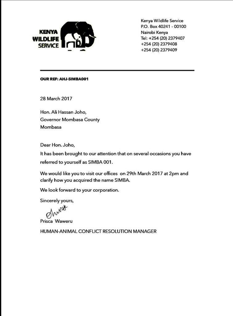 A copy of the fake letter addressed to Joho by the KWS [PHOTO COURTESY]