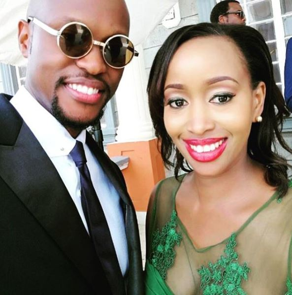 Meet the in-laws: Janet poses with hubby and best-man Eddie Ndichu