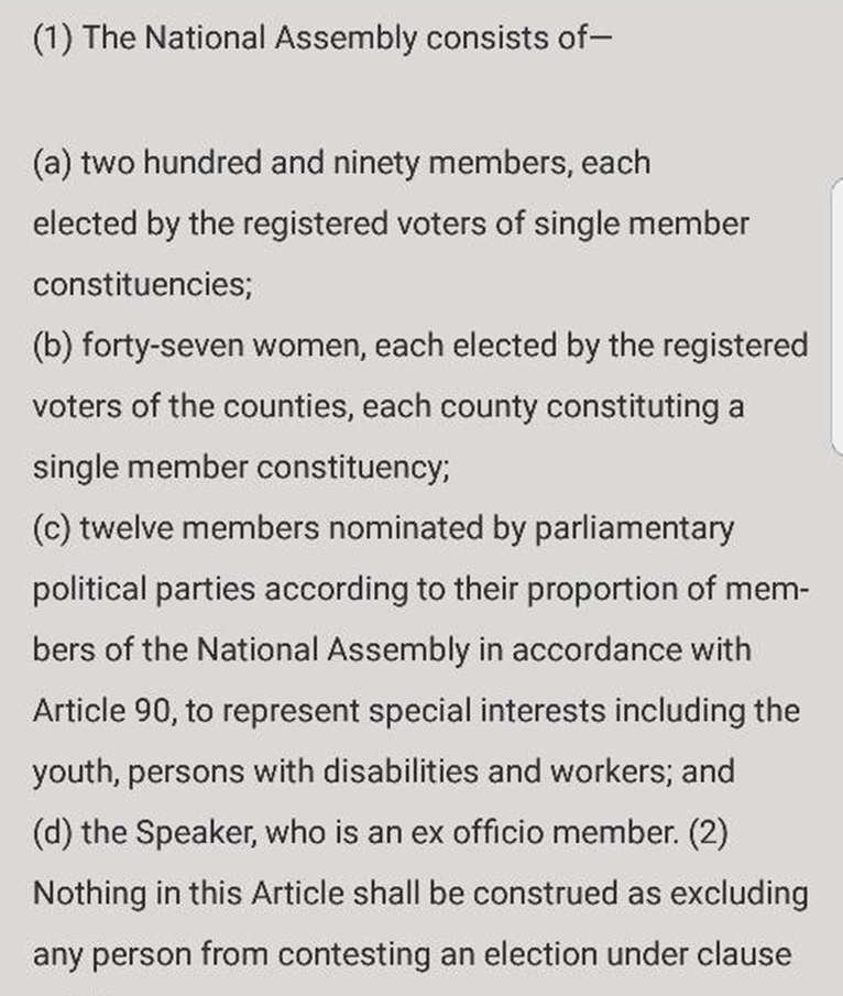 Article 97 of the Constitution on Membership of the National Assembly [PHOTO | COURTESY]