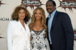 Mathew Knowles poses with Beyonce and ex-wife Tina Lawson