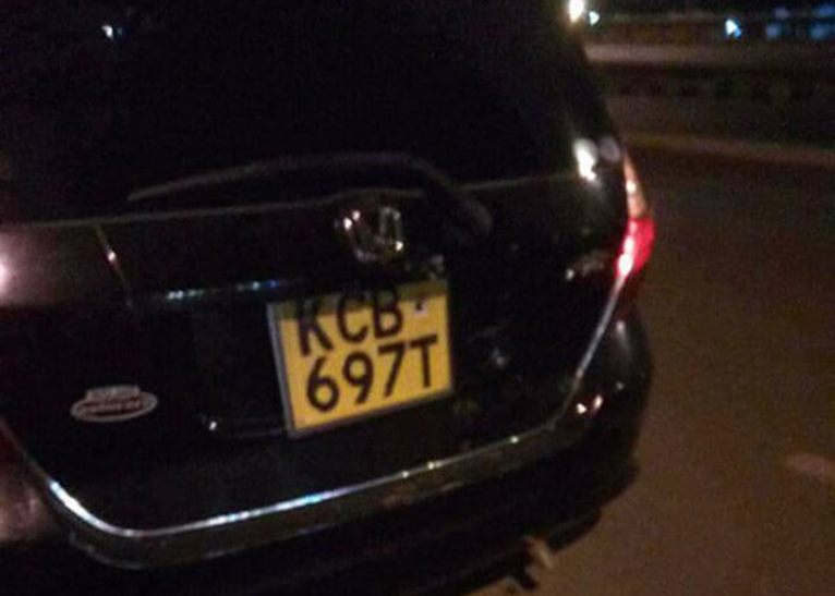 The driver of this car allegedly dumped woman at Roysambu, Nairobi on September 26 [PHOTO | COURTESY]