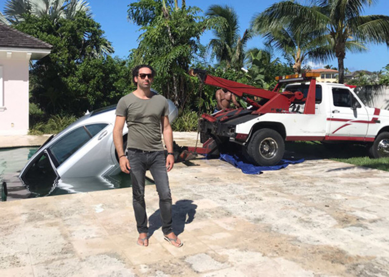 Guy Gentile returned home to find his Ksh5.7 million car in a swimming pool [PHOTO | COURTESY]