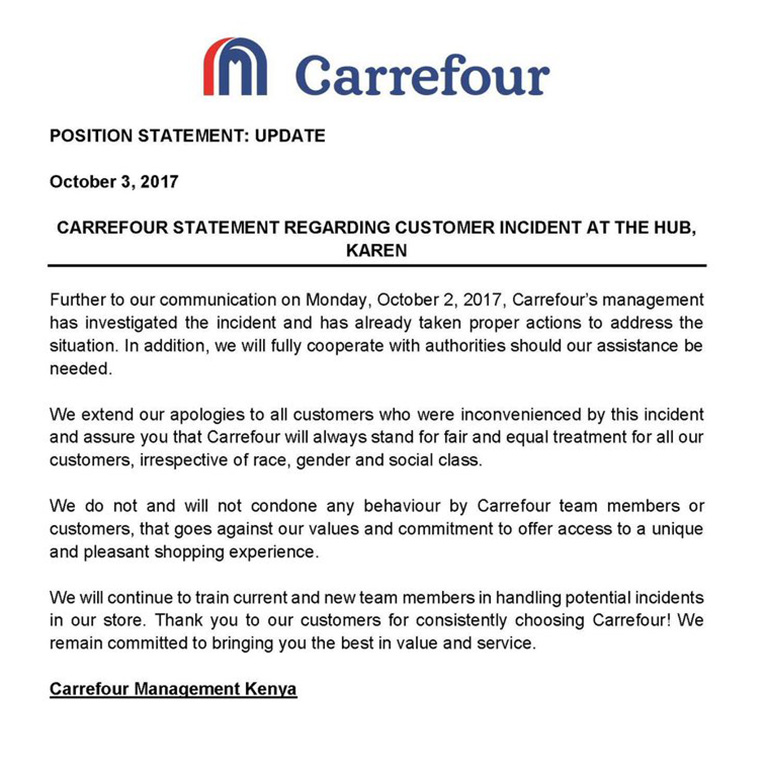 Carrefour Supermarket press statement on alleged racial abuse on Kenyan woman at the retailer's Karen branch [PHOTO   CARREFOUR]