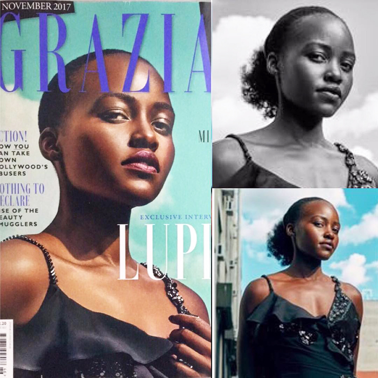 Lupita Nyong'o shares what she says were original photos of her hair from the shoot, and what Grazia Magazine published on their November, 2017 edition. [PHOTO | COURTESY]