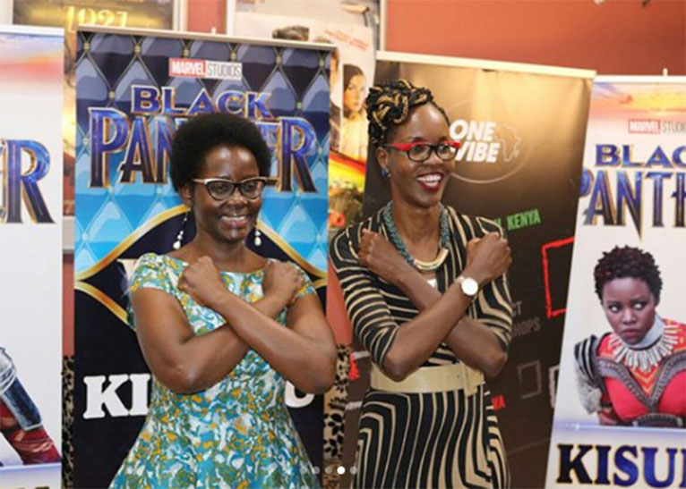"Lupita Nyong'o's mum, Dorothy, (L) and Kisumu County Tourism CEC Achie Ojany (R) attended the Tuesday, February 20  ""Black Panther"" screening. [PHOTO/EDAILY]"
