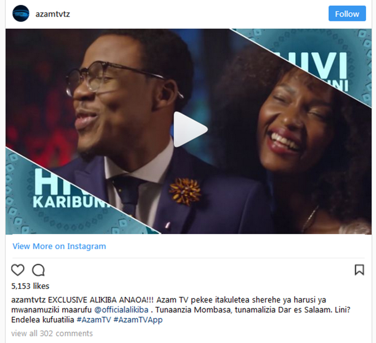 Azam TV has announced on its Instagram page that it will fully air Ali Kiba's wedding ceremonies in Mombasa and Dar es Salaam slated for April 19 and April 26 respectively. [PHOTO | SCREENSHOT]
