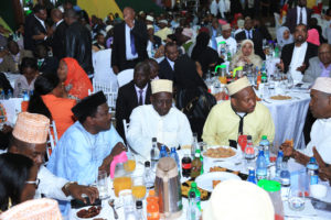 Wiper leader Kalonzo Musyoka, DP William Ruto, Governor Mike Sonko and other dignitaries during the Iftar dinner.