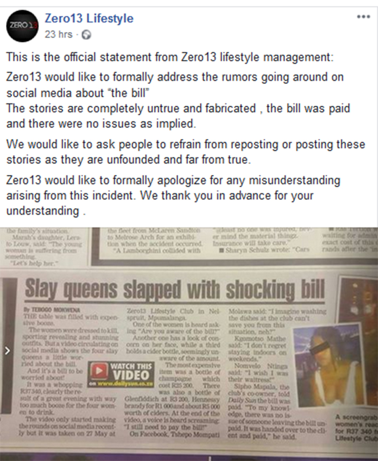 Zero13 Lifestyle restaurant's response to claims that four women were detained at the facility after they failed to settle a Ksh282, 000 bill [PHOTO | FACEBOOK]
