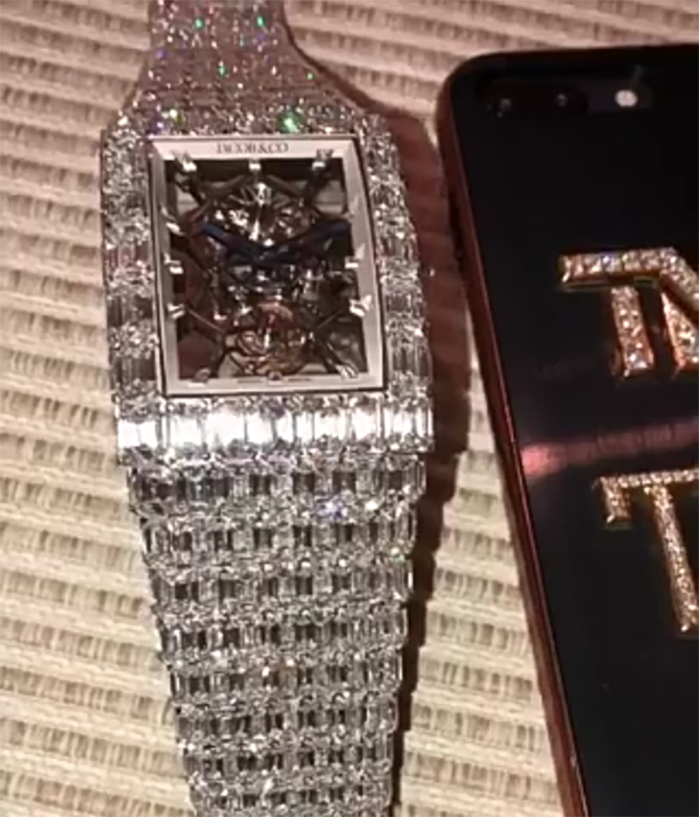 The watch, created by celebrity jeweler Jacob & Co., has 260 carats of emerald-cut diamonds [PHOTO | COURTESY]