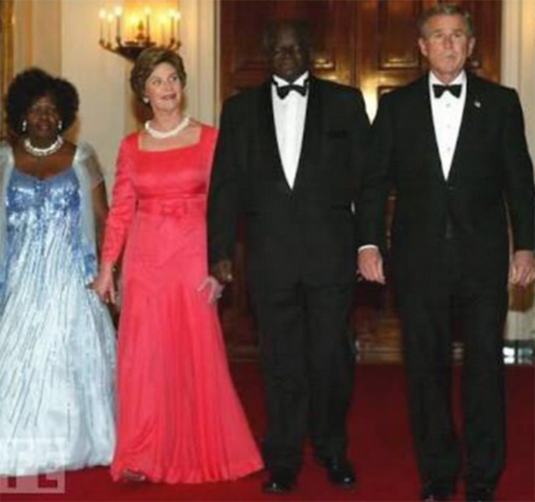 Former U.S. Head of State George Bush and his wife Laura Bush pose for photo with former Kenyan president Mwai Kibaki and the late first lady Lucy Kibaki in a past meeting at the White House. [PHOTO | COURTESY]