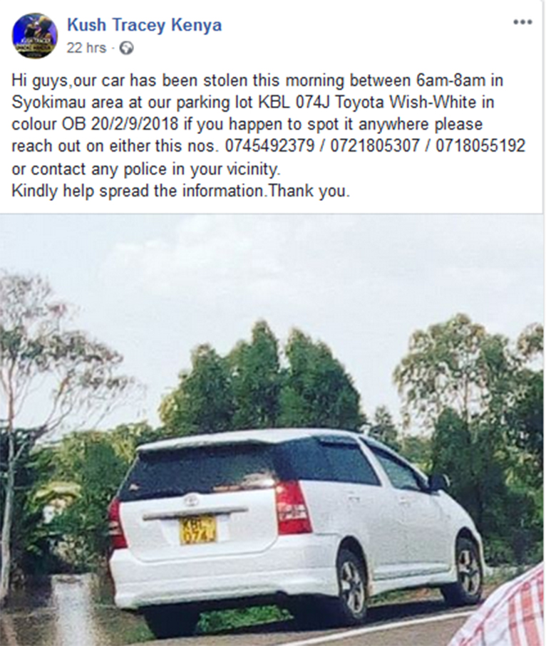 Kush Tracey's stolen car. [PHOTO | COURTESY]
