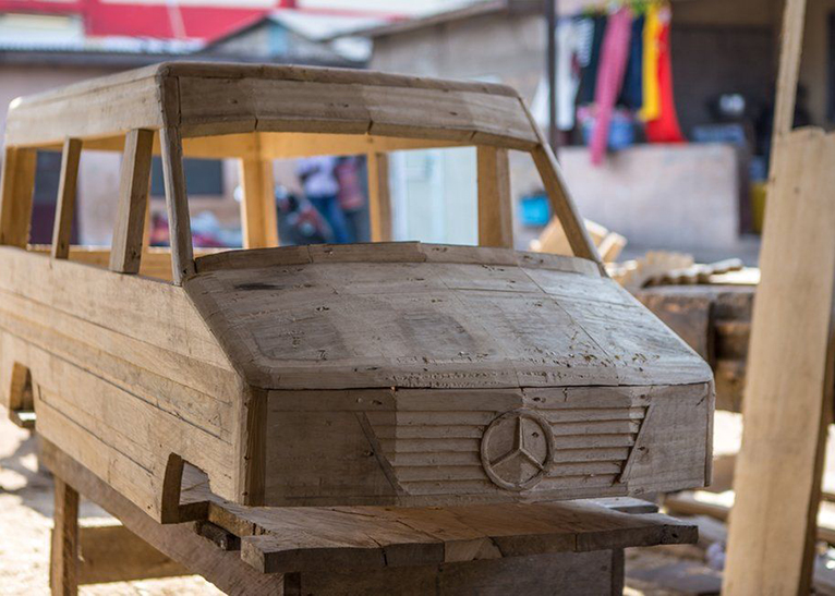 The Mercedes Benz coffin design shows that the deceased was from a high social class. [PHOTO | BBC]