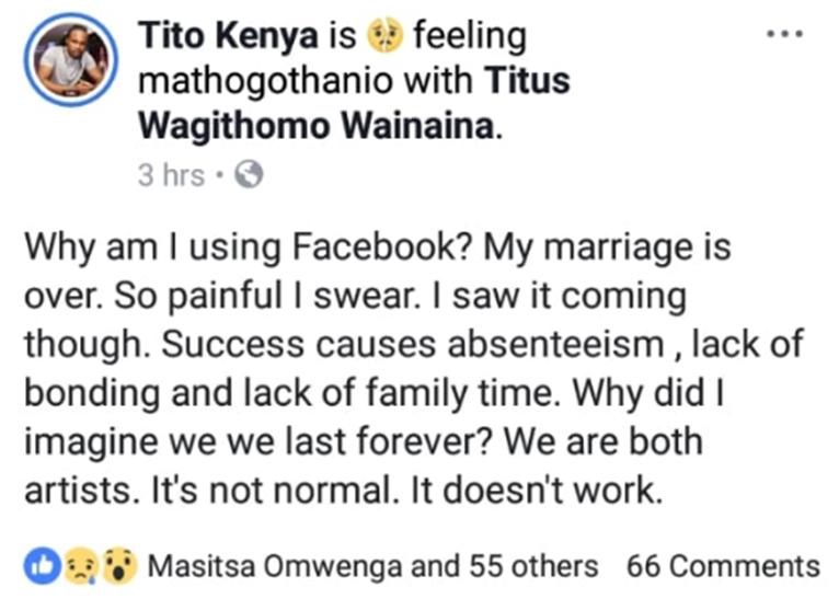 Nice Wanjeri's husband, Titus Wainaina, shared this Facebook post on November 1 before deleting it. [PHOTO | COURTESY]