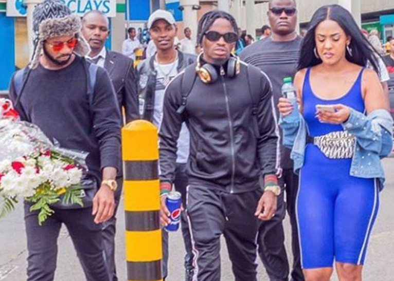 Tanasha Oketch received Diamond Platnumz at the JKIA in Nairobi on Saturday, December 1. [PHOTO | COURTESY]