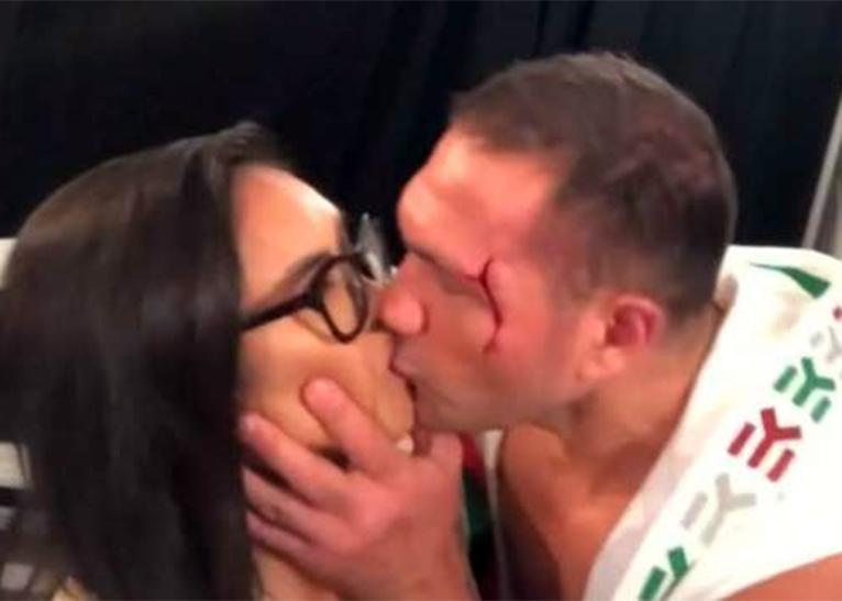 KUBRAT PULEV KISSING TV REPORTER [PHOTO   COURTESY]