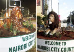 New lion statue mounted on Friday night (L) and the original lion sculpture that Sonko says was only 45% complete, when Kenyans began criticising it (R) [PHOTO | COURTESY]