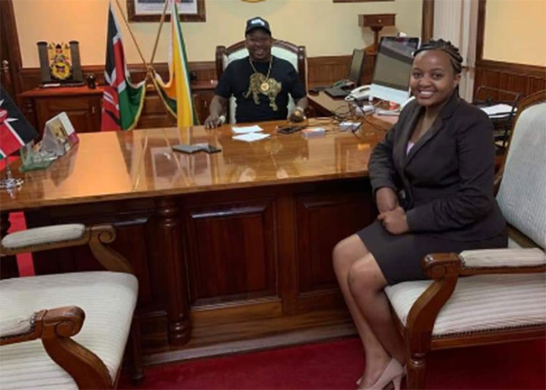 Ms Mvurya visited Sonko at his City Hall office shortly after she won UNSA election. [PHOTO/COURTESY]