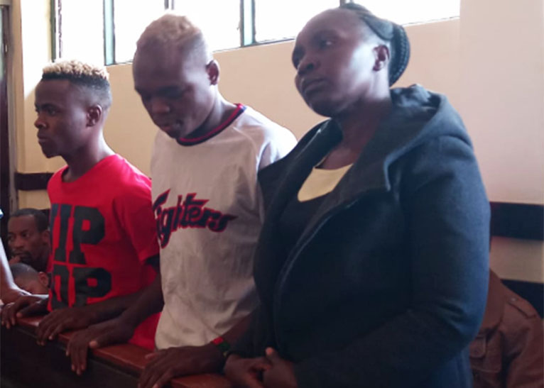 Joseph Ochieng (L), Rogers Namukura (C) and Mary Amollo Olisa were on Friday, May 17 arraigned before Murang'a Resident Magistrate Sheila Nyaga. [PHOTO | EDAILY]