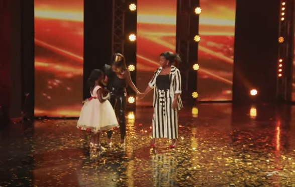 East Africa's Got Talent Judge Vanessa Mdee rushes to the stage to hug Ugandan Leyna Kagere's and her mother after the 7-year-old girl's powerful performance.